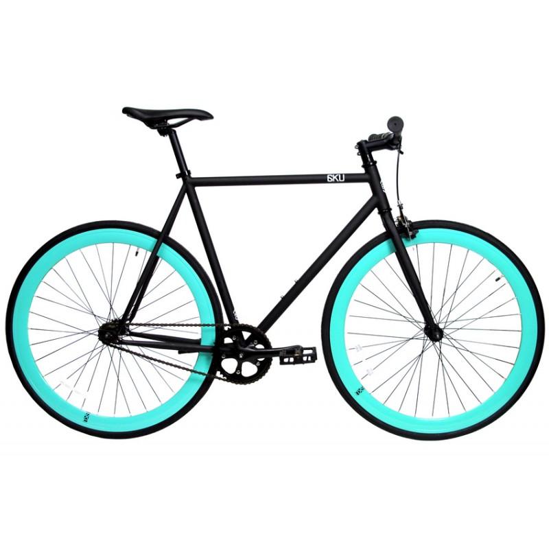 6KU Fixie Cykel - Sort med turkis hjul
